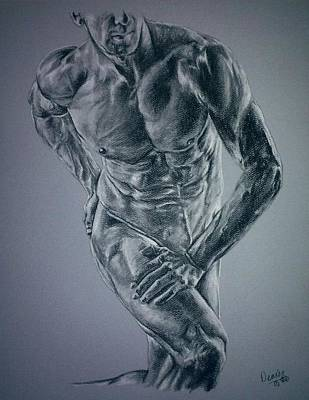 Male Physique In Blues Art Print