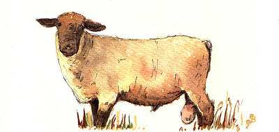 Male Sheep Black Print by Juan  Bosco