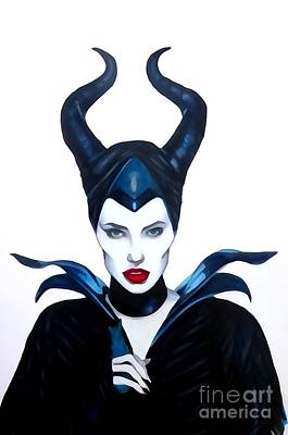 Justin Moore Drawing - Maleficent Watercolor by Justin Moore