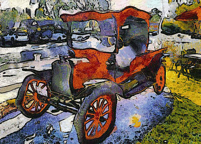 Winery Digital Art - Malibu Family Wine Antique Red Truck by Barbara Snyder