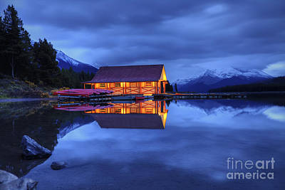 Canoe Photograph - Maligne Lake Boat House Before Dawn by Dan Jurak