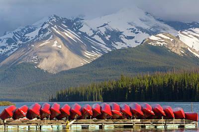Canoe Photograph - Maligne Lake, Jasper National Park by Peter Adams