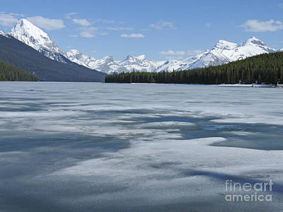Photograph - Maligne Lake - Spring Thaw by Phil Banks