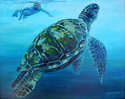 Hawaii Sea Turtle Painting - Malihini by Kristy Tracy