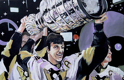 Stanley Cup Painting - Malkin Hoisting The Cup. by Philip Kram