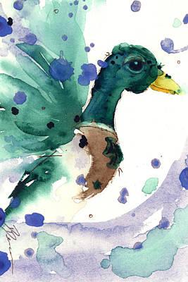 Ducks In Watercolor Painting - Mallard by Dawn Derman