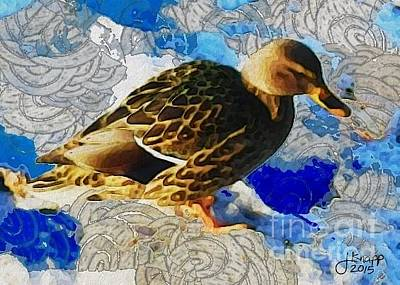 Digital Art - Mallard Duck 20150120 by Julie Knapp