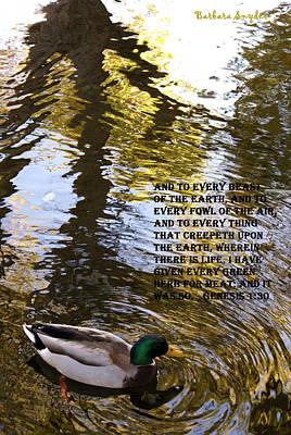Waterfowl Digital Art - Mallard Duck With Scriptures by Barbara Snyder