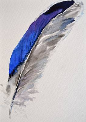 Found Object Painting - Mallard Feather Position A by Beverley Harper Tinsley
