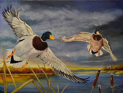 Waterfowl Painting - Mallards Comin In by Alvin Hepler