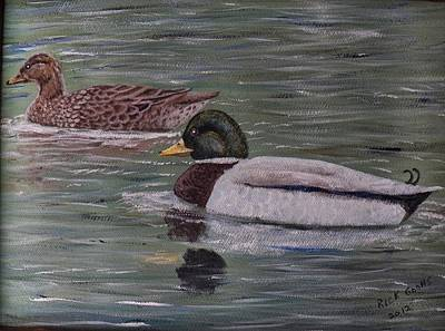 Carolina Duck Painting - Mallards On Holloway Cove by Richard Goohs