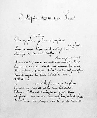 Faun Painting - Mallarm� Manuscript, C1865 by Granger