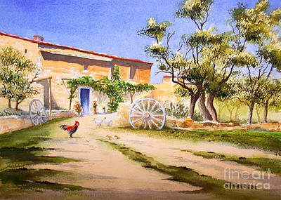 Rooster And Hen Painting - Mallorca Farmhouse by Bill Holkham
