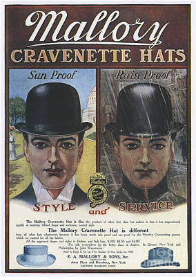 Nineteen-tens Drawing - Mallory  1910s Usa Hats Mens Bowler by The Advertising Archives