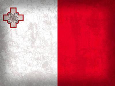 Malta Flag Vintage Distressed Finish Art Print