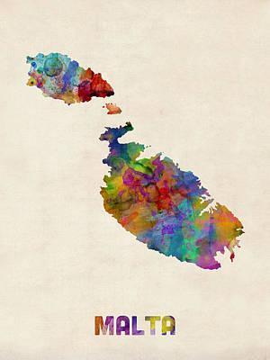 Malta Digital Art - Malta Watercolor Map by Michael Tompsett