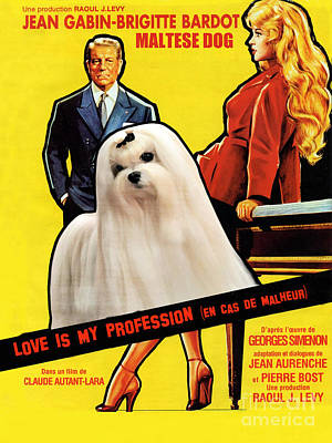 Painting - Maltese Art - Love Is My Profession Movie Poster by Sandra Sij