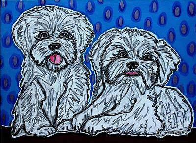 Painting - Maltese Duo Blue Bg by Cynthia Snyder