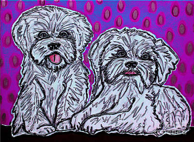 Painting - Maltese Duo Pink Bg by Cynthia Snyder