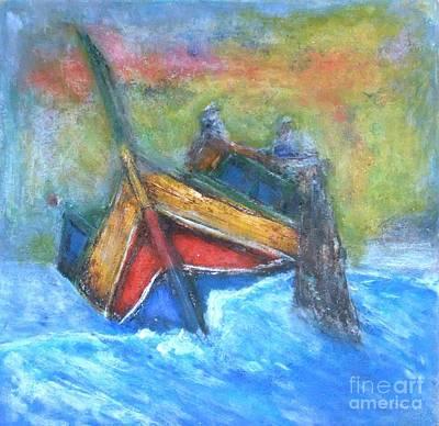 Painting - Maltese Fishermen Casting Nets Outside Marsalforn Malta by Marco Macelli