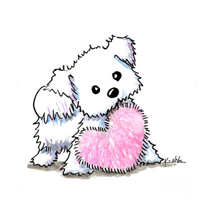 Puppy Drawing - Maltese Heart N Soul Puppy by Kim Niles