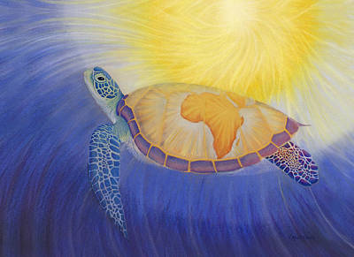 Reptiles Drawing - Mama Africa Turtle by Robin Aisha Landsong