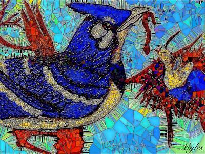 Painting - Mama Bird Feeding Baby Bird by Saundra Myles