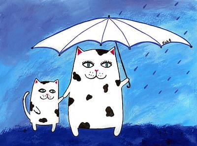 Rain Drawing - Mama Kitty by Pink  Salmon