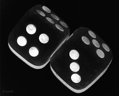 Mixed Media - Mama's Fuzzy Dice In Black And White by Rob Hans