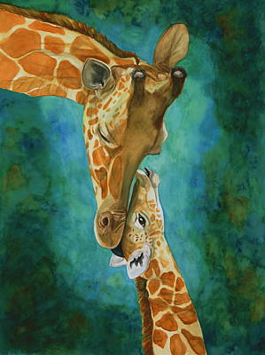 Mother And Baby Giraffe Painting - Mama's Love by Laurie Henry