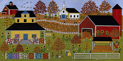 Quilts Painting - Mama's Quilts And Papa's Pumpkins by Medana Gabbard