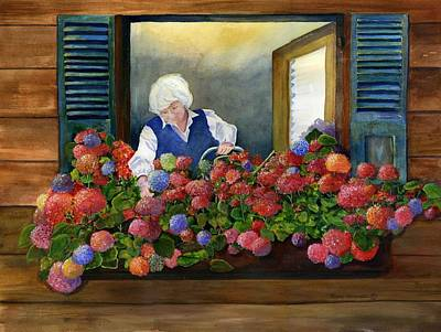 Old Pitcher Painting - Mama's Window Garden by Jane Ricker