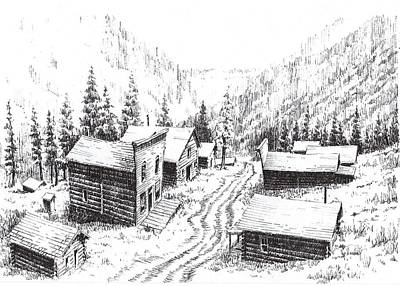 Abandoned Building Drawing - Mammoth Ghost Town Montana by Kevin Heaney