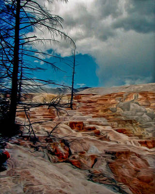 Yellowstone Digital Art - Mammoth Hot Springs Terrace by John Haldane