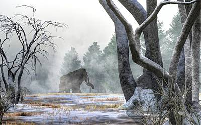 Prehistoric Digital Art - Mammoth In The Distance by Daniel Eskridge
