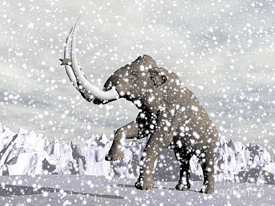 Mammoth Walking Through A Blizzard Art Print by Elena Duvernay