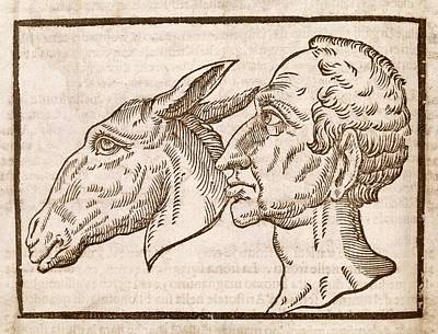Man And Ass's Head Art Print by Middle Temple Library