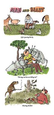 Cartoon Drawing - Man And Beast by William Steig