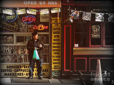 Photograph - Man And Convenience Store - Late Day by Miriam Danar
