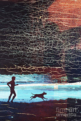 Jogging Digital Art - Man And Dog Abstract by Adrian Hillman