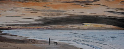 Man And Dog On The Beach Art Print by Ian Donley