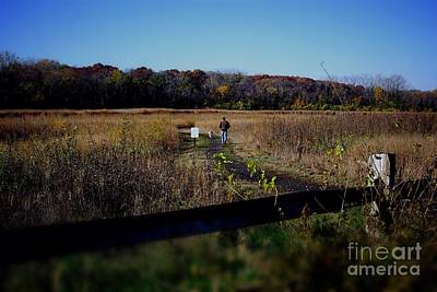 Frank J Casella Royalty-Free and Rights-Managed Images - Man and Dog Walking the Nature Trail by Frank J Casella