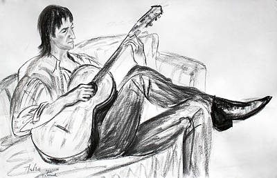 Musicians Drawings - Man and Guitar by Asha Carolyn Young