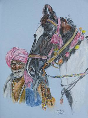 Print featuring the pastel Man And His Horse by Janina  Suuronen