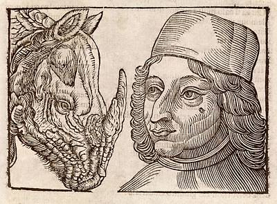 Man And Rhino's Head Art Print by Middle Temple Library
