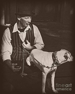 Photograph - Man And White Dog In New Orleans by Kathleen K Parker