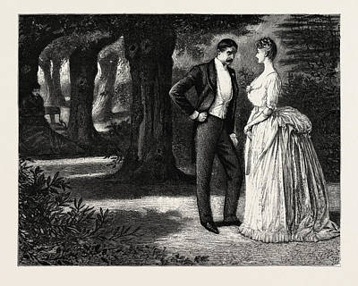 Cartoonist Drawing - Man And Woman, 1888 Engraving by Du Maurier, George L. (1834-97), English