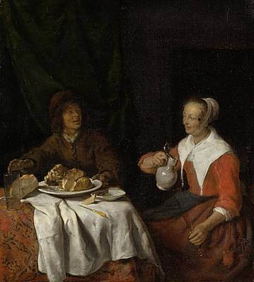 Flemish Painting - Man And Woman At A Meal by Gabriel Metsu