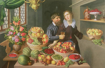 Man And Woman Before A Table Laid With Fruits And Vegetables Art Print