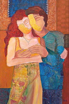 Hand Made Paper Painting - Man And Woman by Debi Starr